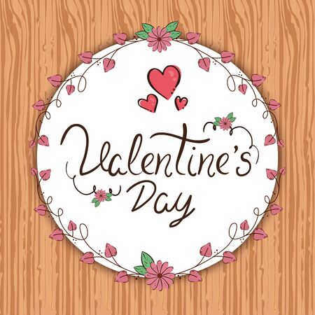 valentines day card with frame circular in wooden background vector illustration design