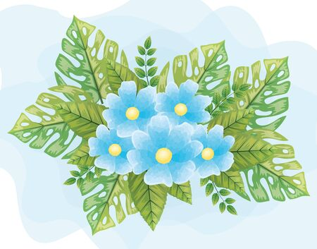 cute flowers blue color with leafs naturals vector illustration design Ilustração