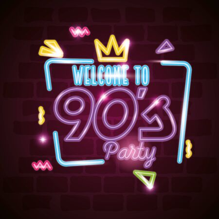 label welcome to nineties party neon light vector illustration design