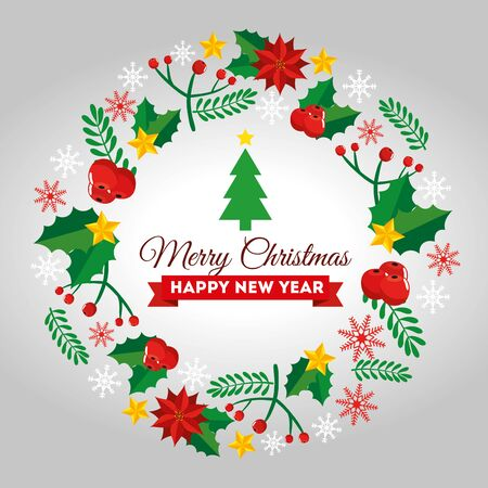 card merry christmas with frame of decoration vector illustration design