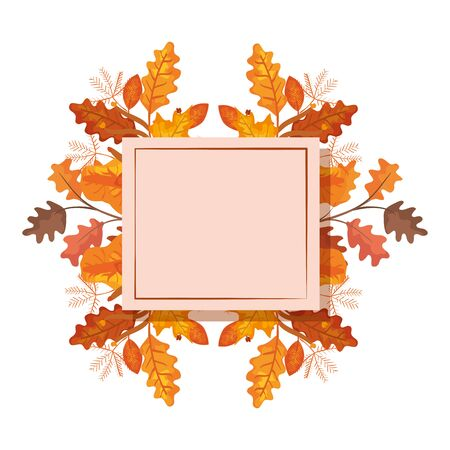 square frame with autumn leafs vector illustration design