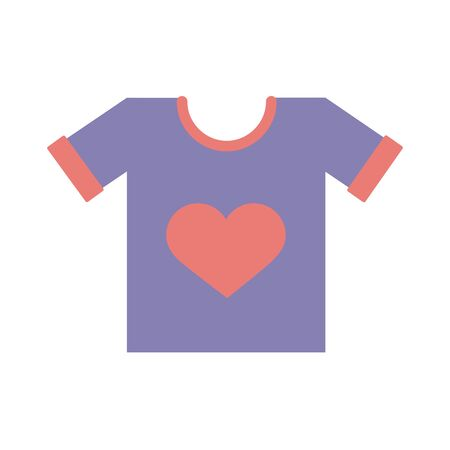 shirt with heart solidarity flat style vector illustration design