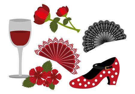 bundle of dance flamenco and set icons vector illustration design