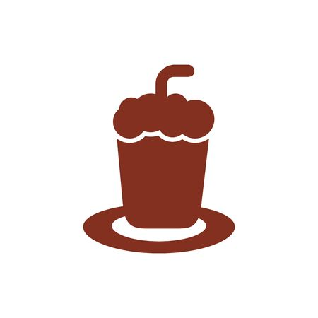 ice coffee in cup drink silhouette style icon vector illustration design