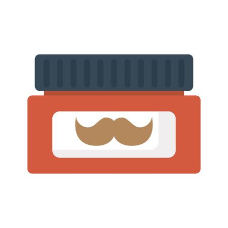 cream pot with mustache product isolated icon vector illustration design