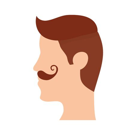 man with mustache head character vector illustration design
