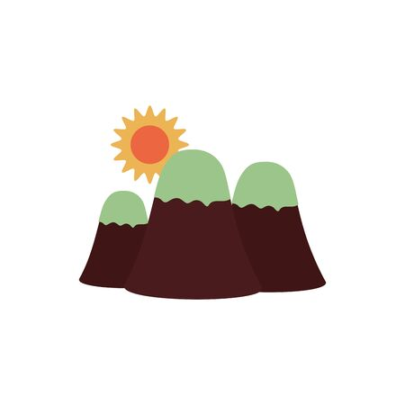 summer sun with snow mountains flat style icon vector illustration design