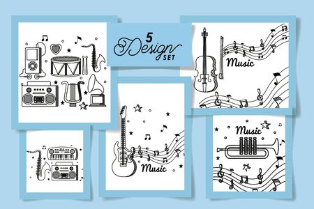 set five designs of music instruments and icons vector illustration design Çizim