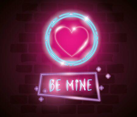 be mine label in neon light, valentine day vector illustration design