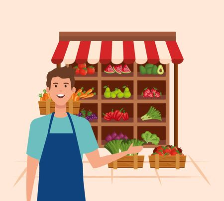 salesman wearing apron with fresh vegetables and fruits over pink background, vector illustration