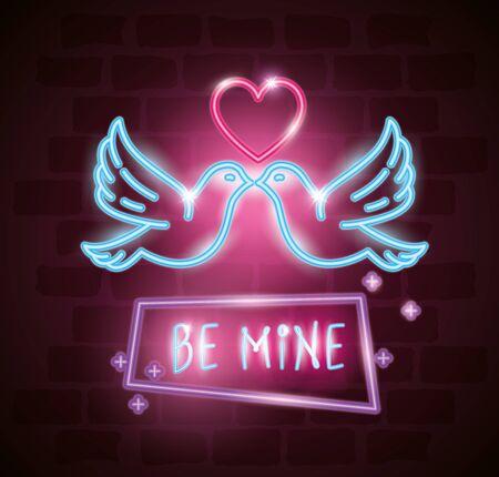 doves with heart of neon light vector illustration design Çizim