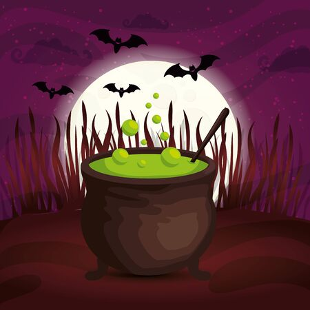 cauldron with bats flying in scene halloween vector illustration design
