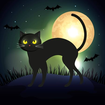 cat in the dark night halloween scene vector illustration design  イラスト・ベクター素材