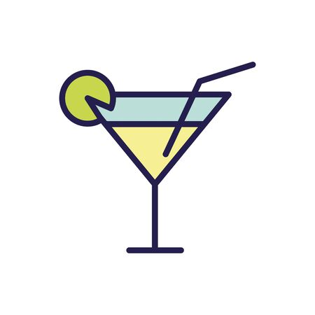 fresh tropical cocktail isolated icon illustration design