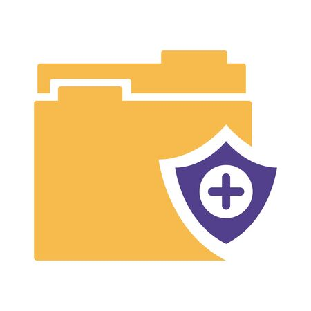 shield insurance with folder silhouette style icon illustration design