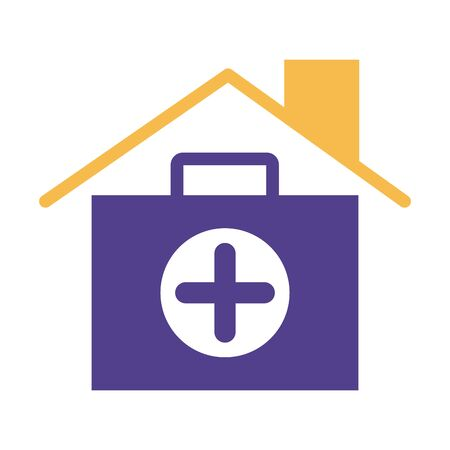 house roof insurance with medical kit silhouette style icon illustration design