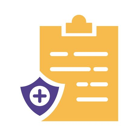 shield insurance with clipboard silhouette style icon illustration design Çizim
