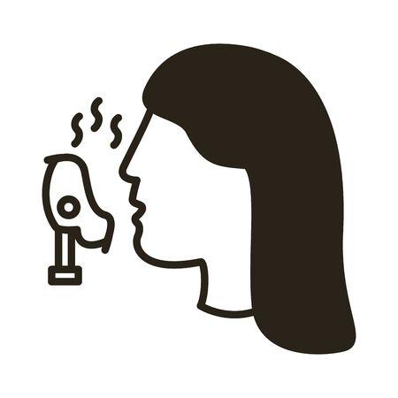 profile using face oxygen mask line style icon illustration design
