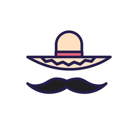 mexican culture hat and mustache fill style icon illustration design