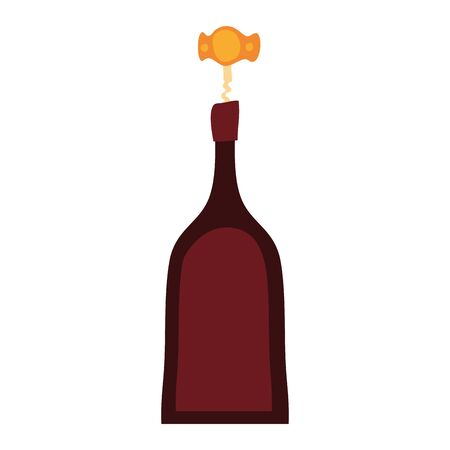 wine bottle drink with corkscrew vector illustration design