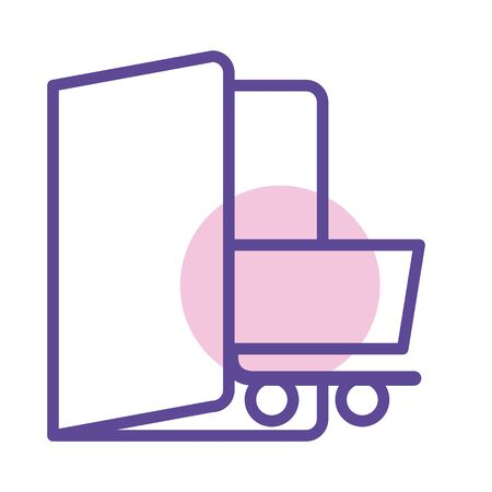 shopping cart in door line style icon illustration design