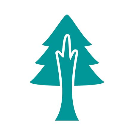 pine tree plant forest silhouette style icon vector illustration design