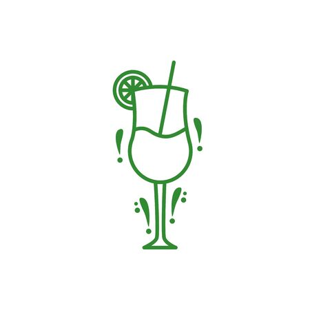 fresh tropical cocktail isolated icon vector illustration design