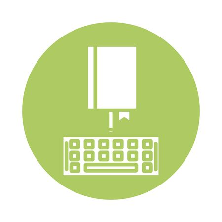 electronic book with keyboard education online block style illustration design