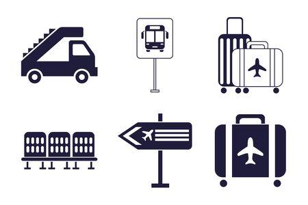 bundle of airport set icons illustration design