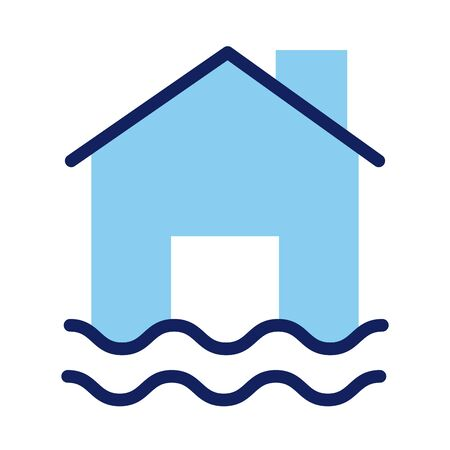 house property flood insurance line and fill style vector illustration design