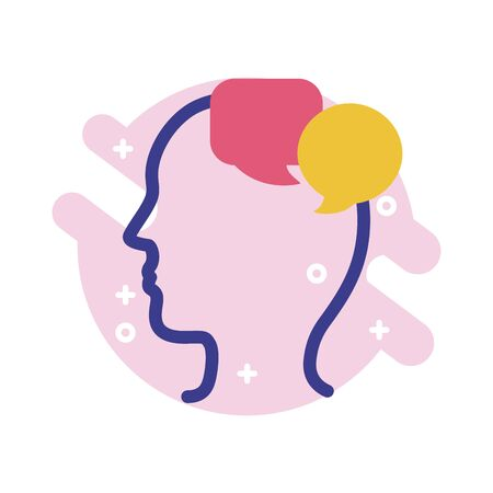 profile with speech bubbles mental health line style icon vector illustration design