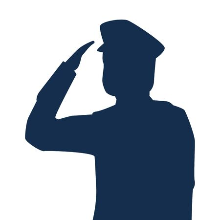saluting army soldier silhouette icon on white background vector illustration design
