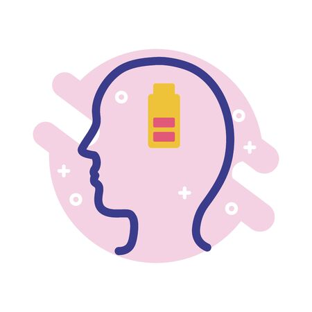 profile with battery level mental health line style icon vector illustration design Ilustração
