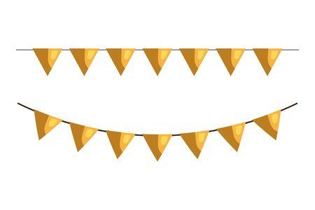 carnival golden garlands, festive celebration, isolated icon vector illustration design