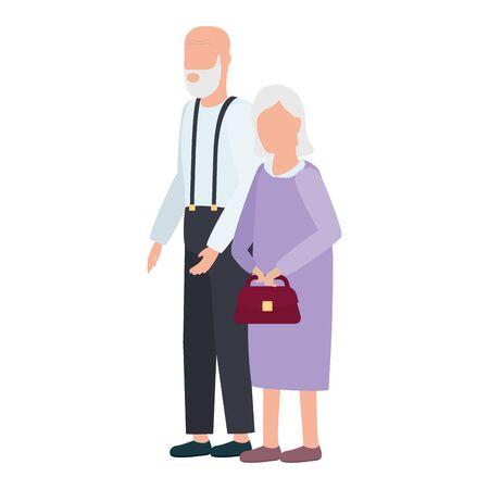 cute old couple comic characters vector illustration design 版權商用圖片 - 148074416