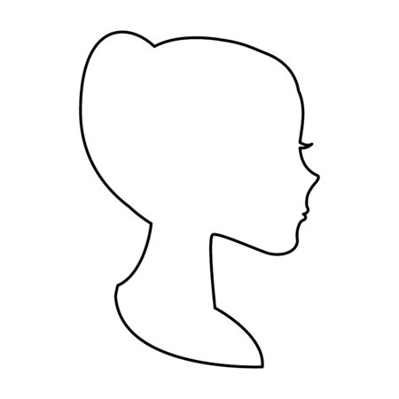 Woman face silhouettte over white background, vector illustration