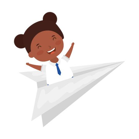 cute little student afro girl with paper airplane vector illustration design