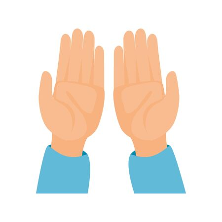 two empty hands together on white background vector illustration design