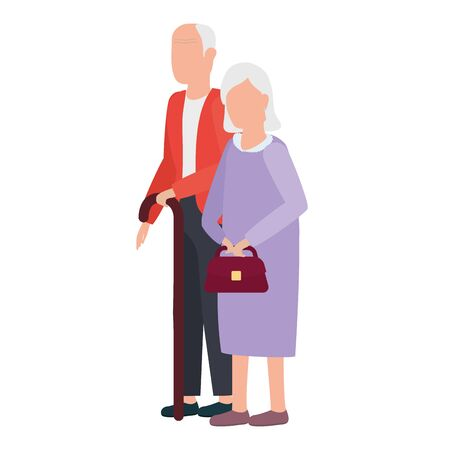 cute old couple comic characters illustration design