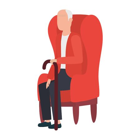 cute old man seated in sofa character illustration design