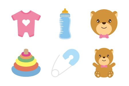 bundle of baby set icons vector illustration design