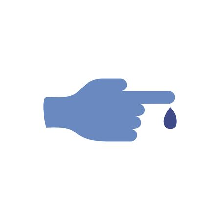 hand with drop blood medical flat icon vector illustration design