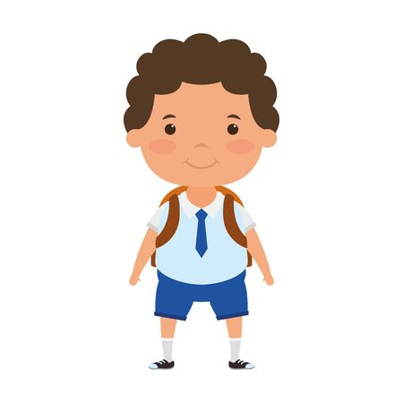 cute little student boy character vector illustration design