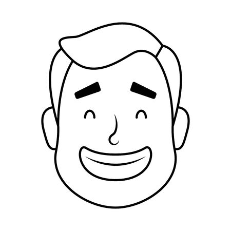young man head avatar character icon illustration design 向量圖像