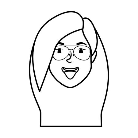 cute young woman head with eyeglasses character illustration design