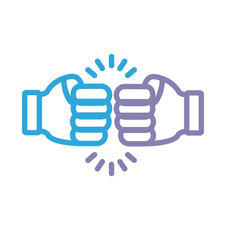 hands fist crashing solidarity line style illustration design 版權商用圖片 - 148095665