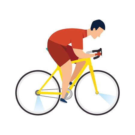 racing bike, man in road bicycle on white background vector illustration design