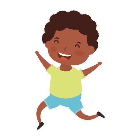 cute little afro boy comic character vector illustration design Illusztráció