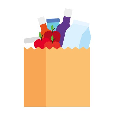 food bag, market paper bag, groceries vector illustration design Stock Illustratie