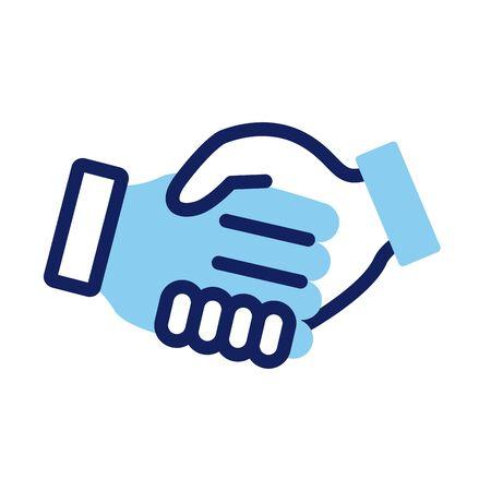handshake deal line and fill style vector illustration design